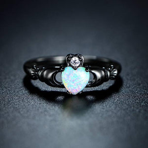 Black Gold Heart Opal Ring