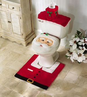 Santa Claus Wall Sticker Rug Set red Christmas Decoration Bathroom Set of 3