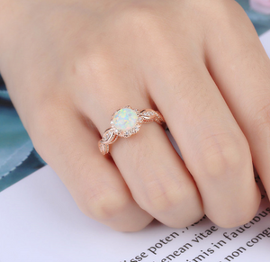White Opal Rose Gold Ring