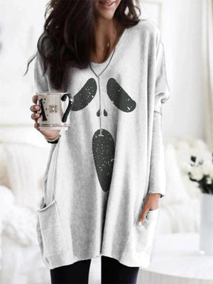 Women's Halloween Ghost Print Pocket T-shirt