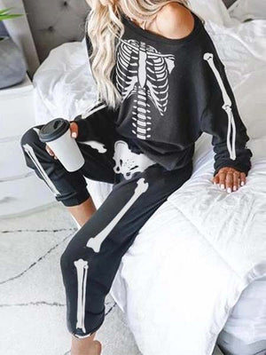 Women's Halloween Skull Pajamas Home Wear Set