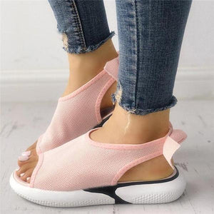 Women Mesh Fabric Sandals Casual Breathable Bowknot Embellished Sandals