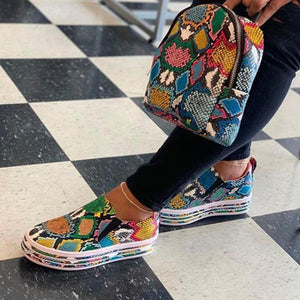Multi Colored Snake Skin Printed Sneakers