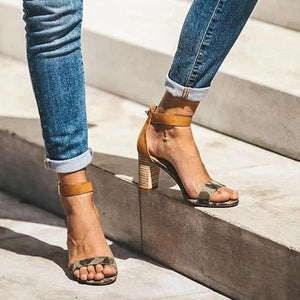 Adjustable Buckle Chunky Heel Sandals