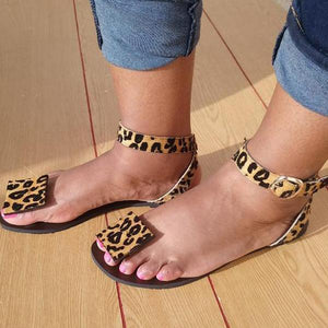 Women Summer Faux Suede Leopard Sandals
