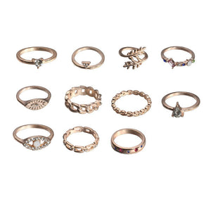 11-Piece Minimalist Bohemian Pav'e Ring Set in 14K Gold Plating
