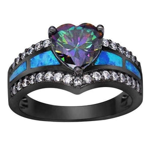 Black Gold Blue Opal Heart Ring