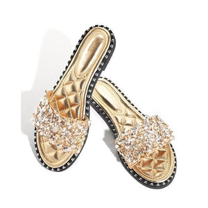 Casual Beaded Flat Slippers