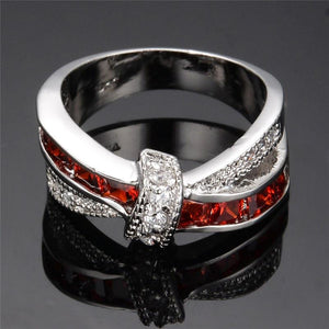White Gold Ruby Birthstone Ring
