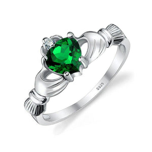 Emerald Claddagh Ring Solid 925 Sterling Silver