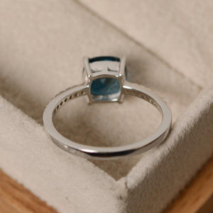 Square March Birthstone Ring