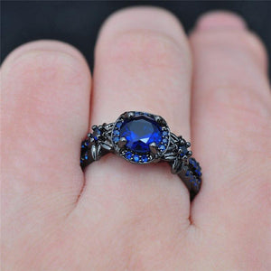 Vintage Black Gold Sapphire Ring