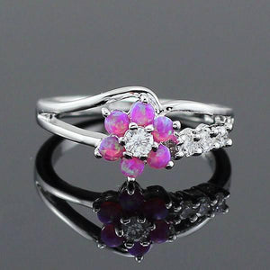 Fire Opal Flower Stone Ring