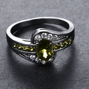 Black Gold Peridot Birthstone Ring