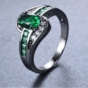 Black Gold Emerald Birthstone Ring