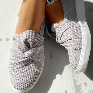 Women Causual Knitted Twist Slip On Sneakers