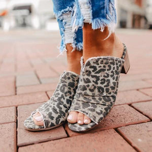 Women Leopard Peep Toe Slippers