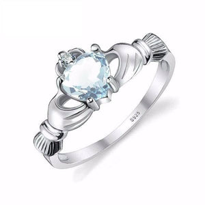 Aquamarine Irish Claddagh Ring Solid 925 Sterling Silver