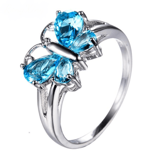 White Gold Aquamarine Butterfly Ring