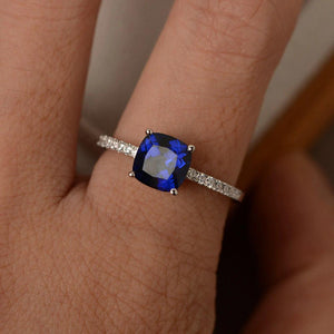Square September Birthstone Ring