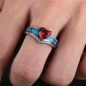 Black Gold July Birthstone Heart Ring