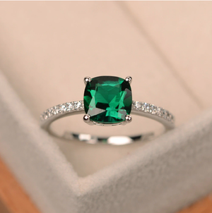 Square May Birthstone Ring