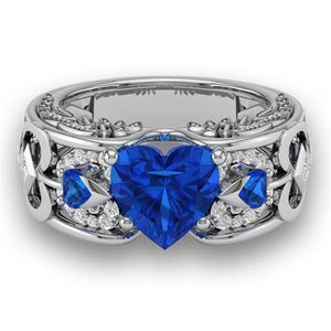White Gold Angel's Heart September Ring