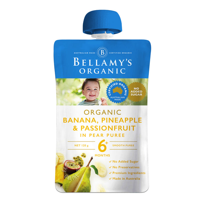 Bellamy's Organic Baby Food - Banana, Pineapple & Passionfruit in Pear Puree