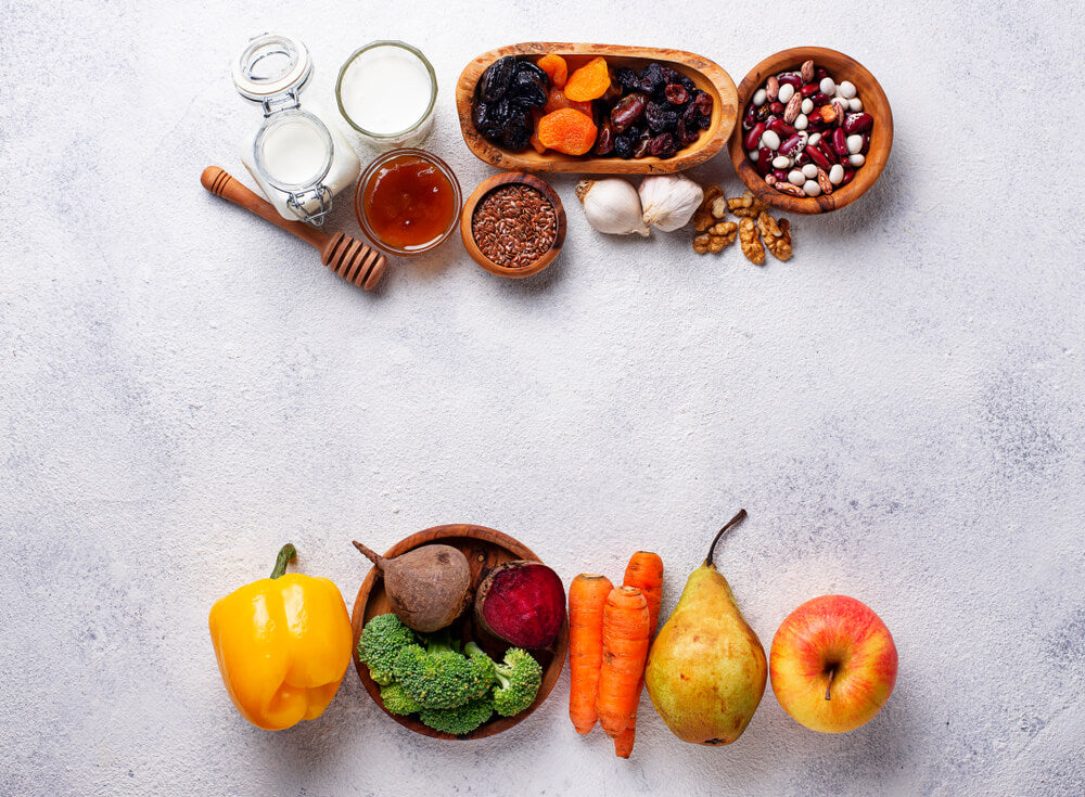 Variety of healthy fruits and vegetables for gut health