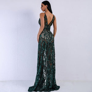 Green Sequinned V Neck High Split Dress