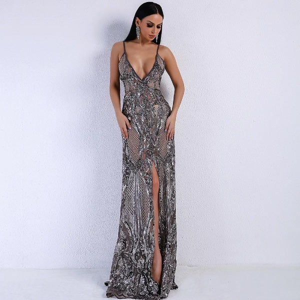 Grey V-Neck Spaghetti Strap High Split Dress