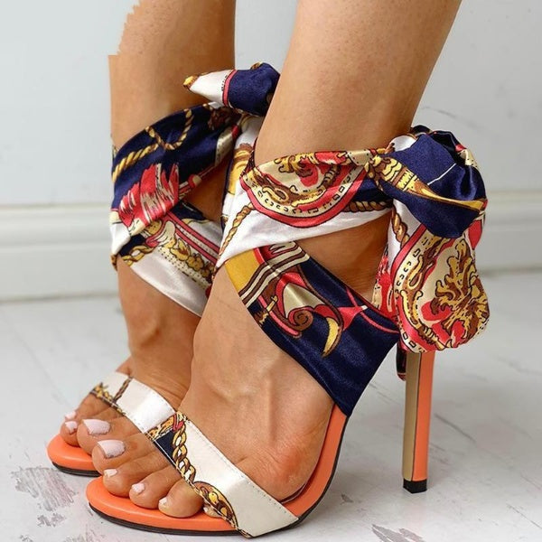Vintage Chain Print T-Strap High Heels Pumps