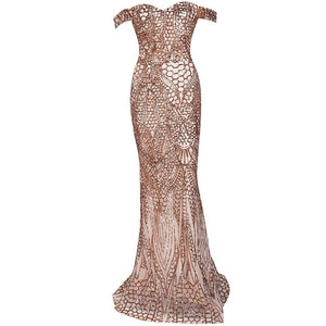 Gold Sequinned Off The Shoulder Dress