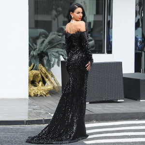 Black Sequin Off Shoulder Feather Dress