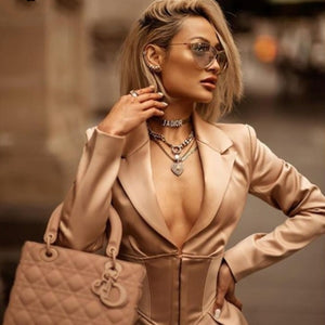 Khaki Long Sleeve Suit Coat Dress
