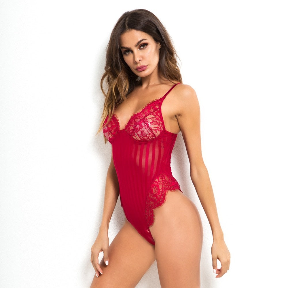 Red Stripe Lace Bodysuit