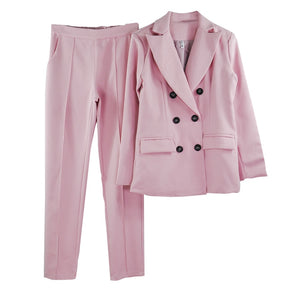 Red Notched Collar Blazer & Trousers 2 Piece Sets
