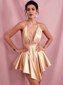 Gold Ruffled Deep V Neck Dress