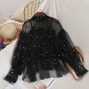 Pearl Beads Bubble Sleeve Blouse