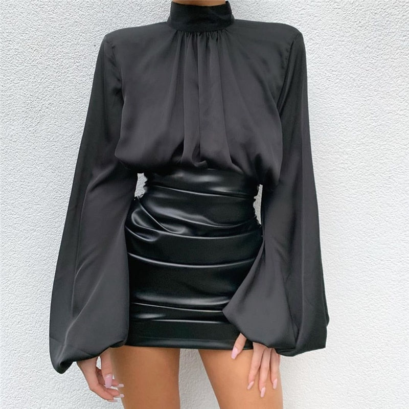 Bodycon Ruched PU Leather Skirt
