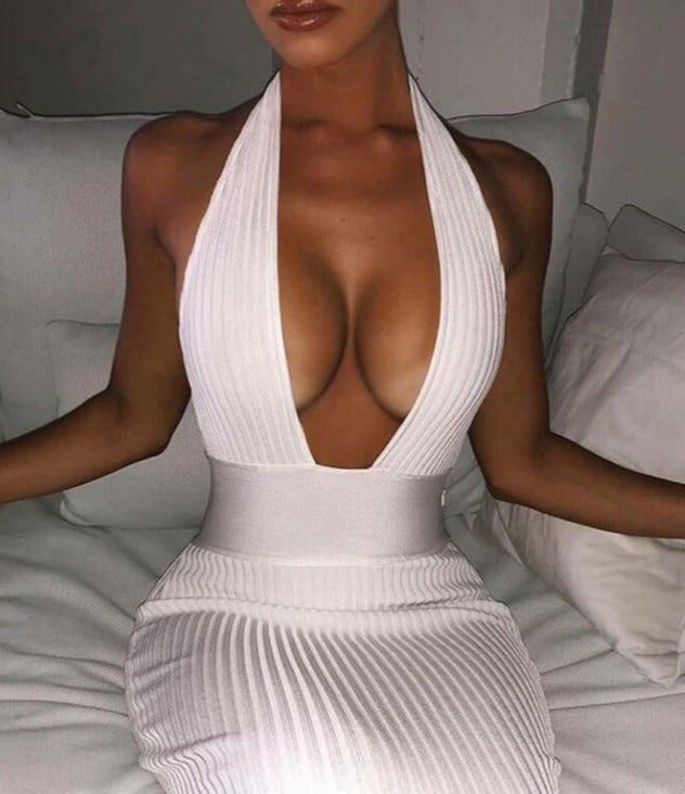 White/Black Deep V Empire Dress