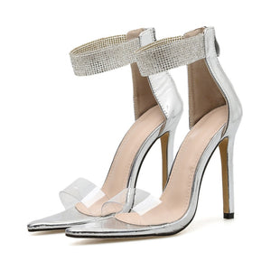 Silver Crystal Ankle Open Toe PVC High Heels Pumps