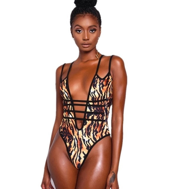 Tiger Strappy Swimsuit
