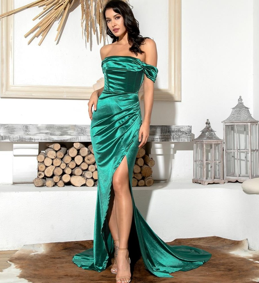 Green Off Shoulder High Split Mermaid Dress
