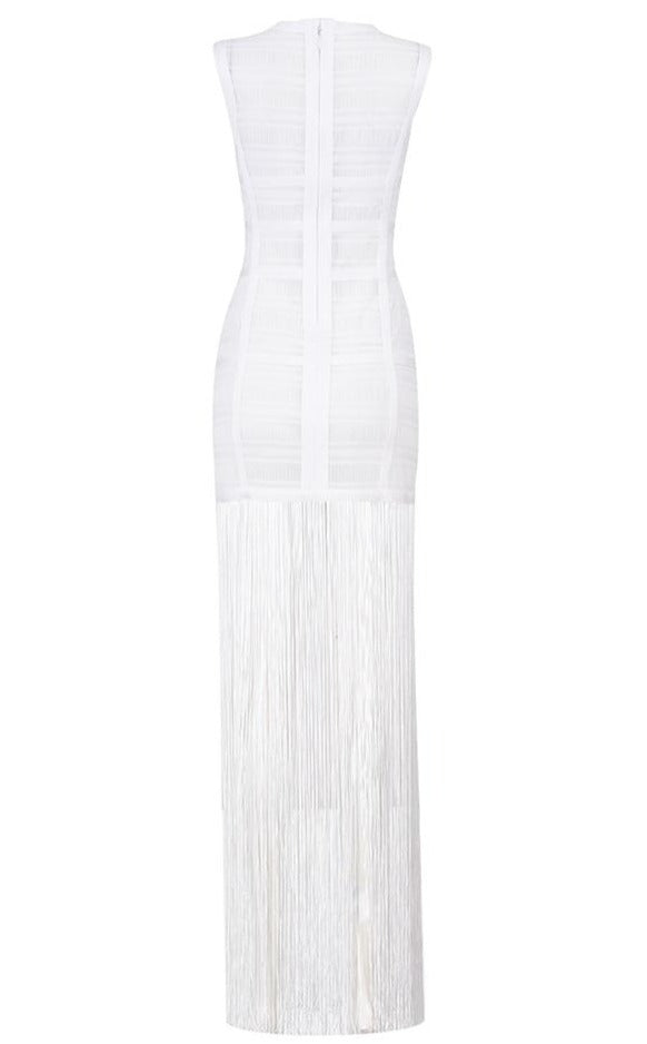 White Bandage Fringe Dress