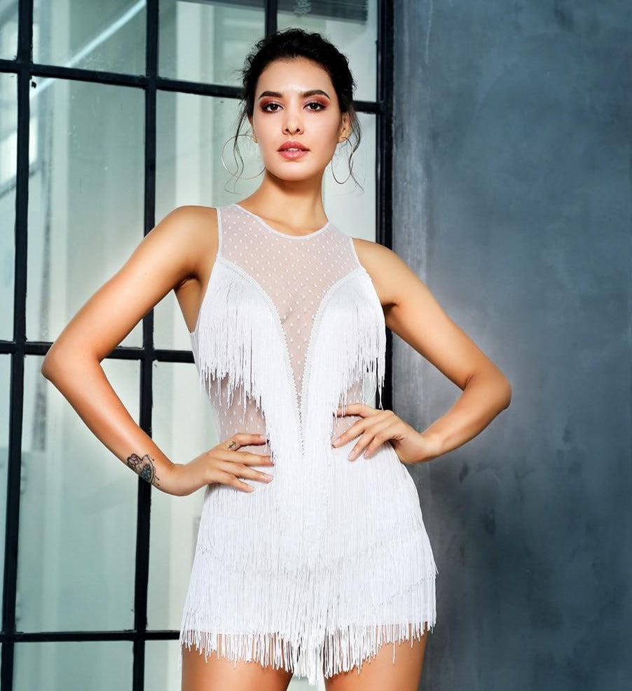 White Round Neck Fringe Playsuit