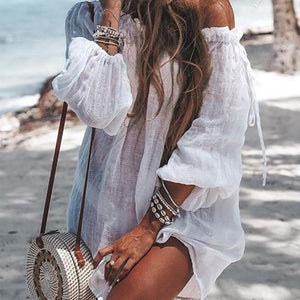 White Summer Beach Cover Up Dress