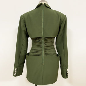 Green Turn-down Collar High Waist Dress