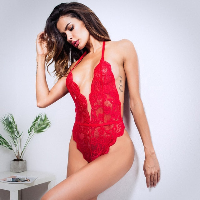 Red Halter Neck Lace Bodysuits