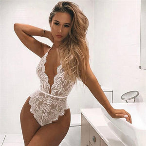White Halter Neck Lace Bodysuits